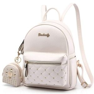 ivory quilted miniature backpack w/ gold accent